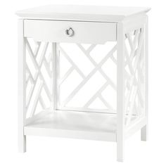 Burton Hollywood Regency Silver White Lacquer Fret Nightstand | Kathy Kuo Home