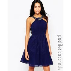 Little Mistress Petite Skater Dress With Embellished Straps ($77) ❤ liked on Polyvore featuring dresses, blue, blue pleated dress, woven dress, skater dress, little mistress dresses and pleated dress