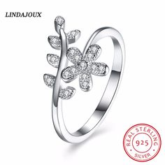 925 Sterling Silver Jewelry Mosaic Inlay Zircon Open Rings for Women Fashion Wedding Ring Charm Accessories Gift LINDAJOUX 2017 #Affiliate