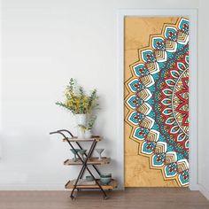 Painted Bedroom Doors, Art Room Doors, Painted Doors, Door Murals, Mural Wall Art, Mandala Drawing, Mandala Art, Mandala On Wall, Door Design
