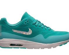 premium selection 7e8a9 fb079 for Bling Shoes Swarovski Nike Air Max 1 Ultra Morie Bling shoe Light Retro  Artisan Teal Womens Crystal Nike Air Max 1 Ultra Moire With Crystal Ticks