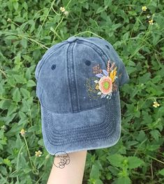 Ready to ship Hand Embroidery Floral Hat Embroidered Floral   Etsy Floral Embroidery, Hand Embroidery, Denim Cap, Floral Denim, Meaningful Gifts, Cotton Thread, Baseball Hats, Hands, Ship