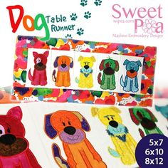 Dog table runner 5x7 6x10 8x12 in the hoop machine embroidery design