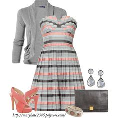 A fashion look from June 2012 featuring striped dress, high heel shoes and man bag. Browse and shop related looks. Pretty Outfits, Cute Outfits, Dress Outfits, Fashion Outfits, Womens Fashion, Fashion Ideas, Swagg, Striped Dress, Gray Dress