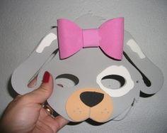 Máscara de Cachorro cinza laço
