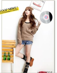 New Korean Fashion Hooded Khaki Sweater