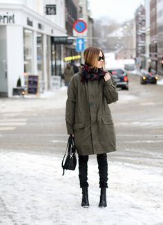 Sara Strand // all bundled up for winter // giant oversized green parka + tartan scarf & leather chelsea boots