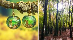 Eco-Resin Jewelry: Carry Nature Around Your Neck  Piece: Gorgeous Green Resin Earrings