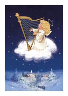 Angel with harp floating above snowy scene