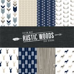 The Rustic Woods Crib Bedding Set - Modern Woodland Custom Crib Bedding - Navy/Khaki/Brown- Choose your fabric - CozybyJess Exclusive by CozybyJess on Etsy