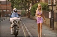 Funny biker and girl