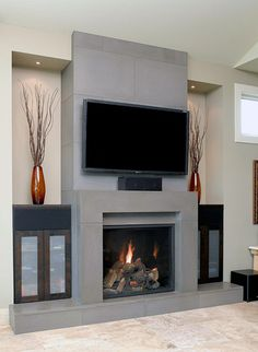 Gas Fireplace and TV Design Ideas I would tile the grey