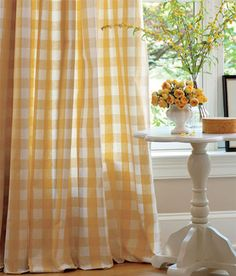 Buffalo Check Rod Pocket Panel - yellow gingham country shabby chic from Country Curtains
