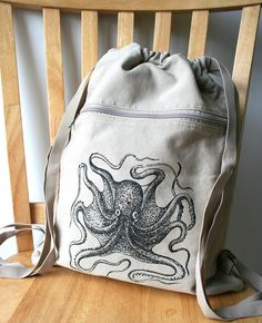 Octopus Backpack Canvas Printed by catbirdcreatures on Etsy