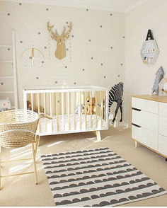 NURSERY / / Lovely gender neutral nursery in white, timber and grey with a Moses basket set up next to the cot all ready for baby. ✔️ via Vivid Wall Decals Baby Nursery Neutral, Baby Nursery Decor, Baby Bedroom, Baby Boy Rooms, Nursery Design, Nursery Room, Girl Nursery, Girl Room, Kids Bedroom