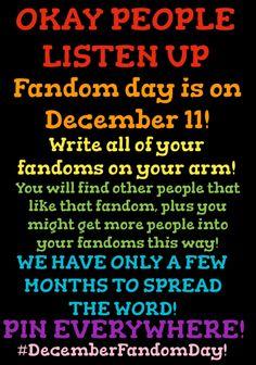 #DecemberFandomDay ! Spread this everywhere!!!!!!