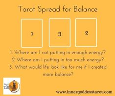 A Spread for finding balance and exploring how that might impact your life! See my blog post explaining the spread here: http://innergoddesstarot.com/2017/01/looking-for-balance-in-the-cards-tarot-spread/ #tarotcardsdiy #tarotcardstips #tarotcardsforbeginners #learningtarotcards