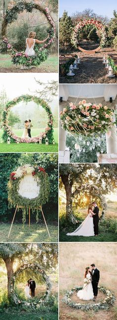 organic giant floral wreath wedding decoration ideas