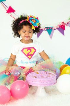 Supergirly Superhero Themed Birthday Tutu Outfit (Dark Pink, Turquoise, Yellow)...www.ticklemytutu.com