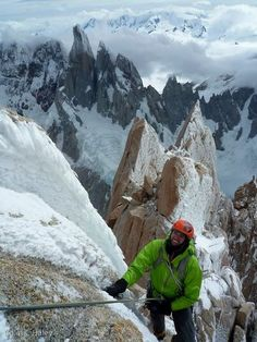 "Dylan Johnson high on the Supercanaleta, with the Torres behind. From ""Climbing Season in Patagonia - La Via Funhogs"" by Colin Haley."