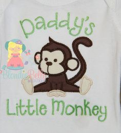 Daddy's Little Monkey Shirt Zoo Baby by BlondieBelleBoutique