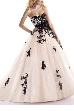 GEORGE BRIDE Schwarz retro handgefertigten Blumen A-Line Brautkleider Hochzeitskleider,Groesse 34, Elfenbein