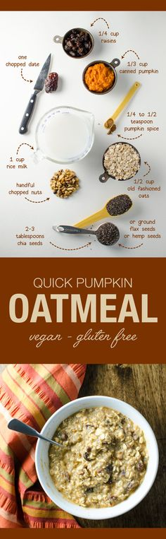 Quick Pumpkin Oatmeal - this vegan and gluten free breakfast recipe can be made overnight or in the morning - depending on desired level of creaminess | VeggiePrimer.com