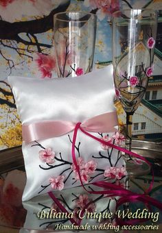 Hand painted Satin ring bearer pillow by BilianaUniqueWedding