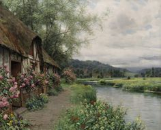 Louis Aston Knight (1873 - 1948) Cottage at Beaumont-le-Roger Oil on canvas 25 3/4 x 32 inches Signed and inscribed Paris