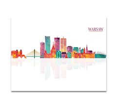 Warsaw Skyline City Colorful Cityscape Poland by CityPrintsYourWay