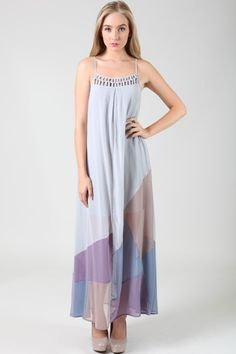 Gray and purple maxi dress.    Valleygirl Boutique