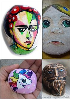 Easy paint rock for try at home (stone art & rock painting ideas) . Painting Words, Painting Videos, Easy Paintings, Art Clipart, Image Clipart, Rock Painting Patterns, Rock Painting Ideas Easy, Painted Rocks Kids, Painted Stones