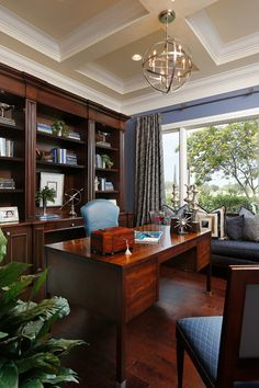 Home office – comfortable working space. Traditional style.