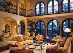 Living Room Natural Tuscan With