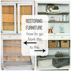 Restoring a hutch.  How to clean and protect furniture so that it is ready to bring into your home.  www.thedempsterlogbook.com