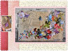 Tableau papillon réalisé avec une cagette de fruits, un vieux journal et un calendrier