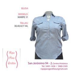 Ropa para Gorditas; Blusa Modelo Marpe 31; Tallas: 38, 40, 42 y 44; Precio: $290