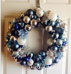 how to make a frozen inspired ornament wreath, Christmas decorations, crafts, seasonal holiday decor, wreaths -- This would be expensive to make unless you hit the after Christmas sales and planned on keeping it for a few years. Easy Fall Wreaths, Holiday Wreaths, Holiday Crafts, Holiday Decor, Frozen Christmas, Christmas Holidays, Silver Christmas, Christmas Chandelier, Christmas Wreaths With Lights