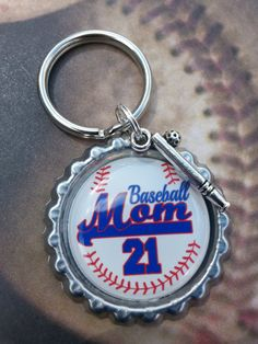 Personalized Baseball Mom with Player Number Bottle Cap Keychain or Zipperpull with Ball and Bat Charm on Etsy, $6.00