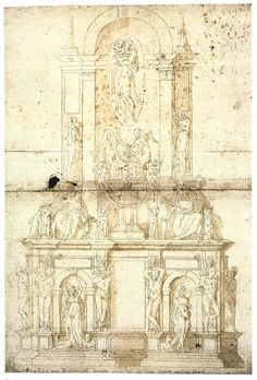 Project by Michelangelo for a Wall Tomb for Pope Julius II. 1512-13. Pen and brown ink, light-brown wash over black chalk.