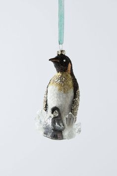 Anthropologie Scotia-Sparkle Penguin Duo Ornament, Mother & Baby Penguin #Anthorpologie