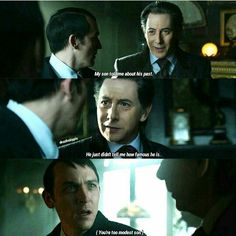 """""""My son told me about his past. He just didn't tell me how famous he is"""" - Elijah and Oswald #Gotham (by dessthahippie)"""