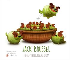 Daily Paint Jack Brussel by Piper Thibodeau on ArtStation. Cute Food Drawings, Cute Animal Drawings Kawaii, Kawaii Drawings, Kawaii Art, Cute Creatures, Fantasy Creatures, Animal Puns, Animal Food, Creature Drawings