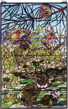30 Inch W X 48 Inch H Woodland Lilypond Stained Glass Window Tiffany Stained Glass, Stained Glass Lamps, Tiffany Glass, Stained Glass Panels, Mosaic Glass, Stained Glass Flowers, Lily Pond, Window Art, Glass Design