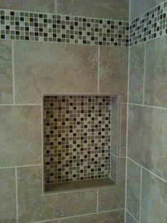 "5/8"" x 5/8"" glass and marble mosaic mix shower niche (Tampa, Florida tile installation).   ceramictec.com"