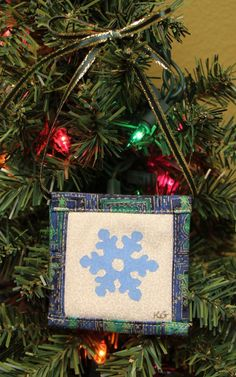 Snowflake Stamped Fabric Square Christmas Ornaments by KjgBoutique on Etsy