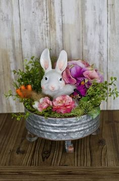 Easter Rabbit Centerpiece on Galvanized Pedestal Easter Decor for Table Rabbit D. - Easter Rabbit Centerpiece on Galvanized Pedestal Easter Decor for Table Rabbit Decor Easter Floral - Easter Flower Arrangements, Easter Flowers, Floral Arrangement, Easter Tree, Oster Dekor, Easter Crafts For Adults, Easter Ideas, Easter Projects, Easter Food