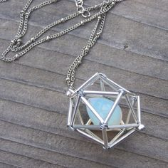NEW Geometric Necklace  Icosahedron  Opalite  by windyscreations