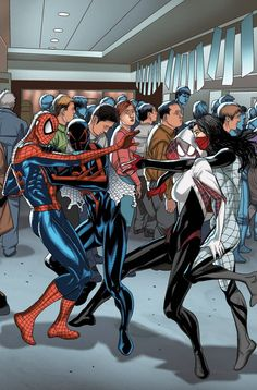 SpiderVerse by Salvador Larroca #Spiderman #SpiderMan2099 #SpiderGwen #Silk