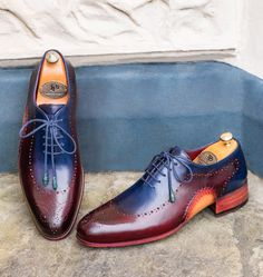 Paul Parkman Opanka Construction Blue & Bordeaux Oxfords Website: www.paulparkman.com
